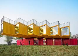 shipping containers office. 13 Of 13; Stacked Shipping Containers Form Temporary Pavilion By People\u0027s Architecture Office