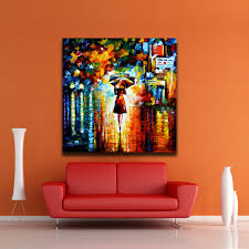umbrella girl in the rain modern abstract painting palette knife oil picture canvas prints home decor