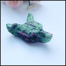 carved ruby and zoisite wolf head pendant bead for men jewelry necklace pendant 51x43x18mm