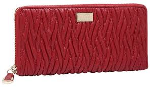 Coach NWT Madison Twist Gathered Leather Accordion Zip Around Wallet Red ...