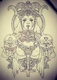 эскиз тату с девушкой держащей в руках черепа балванки эскиз