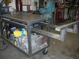 diy welding table or cart see how others have handled storage for welding machines rods gas tanks angle grinders chop saw vises clamping
