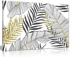 exotic tropical jungle leaf black white
