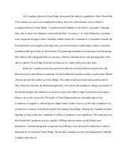 vimy ridge and canadian nationalism essay docx why do you think  5 pages vimy ridge essay