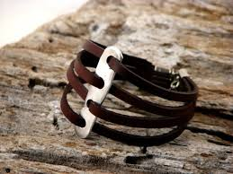 tags clasp leather cord leather bracelet