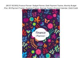 Monthly Finance Planner Best Books Finance Planner Budget Planner Debt Payment Tracker