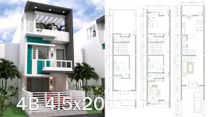 Narrow Home Plans Designs Sketchup 3 Story Narrow Home Plan 4 5x20m Narrow House