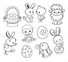 Buona Pasqua Vacanza Illustrazione Fumetto Caratteri Pagina Da