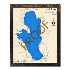 Burt Lake Mi 3d Wood Topo Map