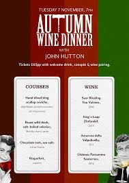 Autumn Dinner Menus Autumn Wine Dinner Groucho Club