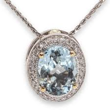 aquamarine diamond halo pendant 18199