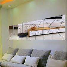 Creative <b>Silver</b> 3D Wall <b>Stickers Geometric</b> Acrylic DIY Mirror Wall ...