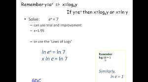 solving equations involving e and ln