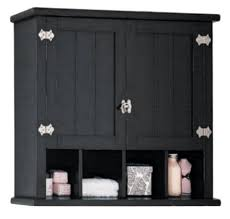 Bathroom. Black Wooden Wall Cabinet With Utility Shelf And Towel ...