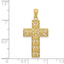 14k yellow gold filigree cross religious pendant charm necklace fancy fine jewelry gifts for women for her