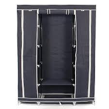 portable closet storage organizers wardrobe clothes rack hanger closet organizer with shelves blue