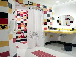 bathroom extraordinary ideas with cool interior captivating kids yellow washstand feat oval mirror white wall curtains mickey mouse amazing captivating bathroom lighting ideas white interior