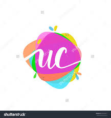 Uc With Graphic Design Letter Uc Logo With Colorful Splash Background Logo Sign