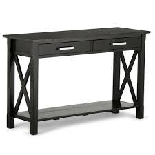 simpli home kitchener dark walnut storage console table