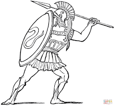Spartan Warrior Coloring Page Free Printable Coloring Pages