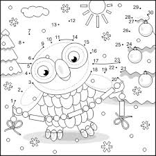 Small Picture Connect the Dots and Coloring Page with Christmas Owl 2