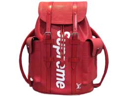 autre marque louis vuitton x supreme backpacks backpacks leather red ref 43836
