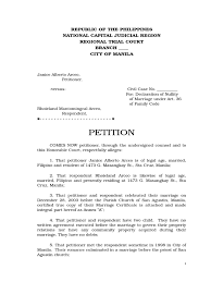 Petition For Declaration Of Nullity Of Marriage Marriage
