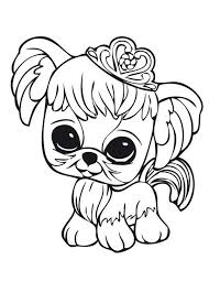 Small Picture Little Pet Shop Little Dog Wearing Crown Coloring Pages Batch