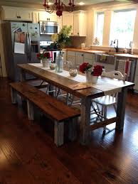 Large Farmhouse Kitchen Table Bench Farmhouse Kitchen Table With Bench With Regard To