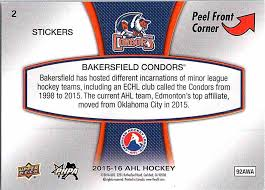 real card back image 2018 16 upper deck ahl logo stickers bakersfield condors 2 card back image