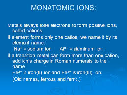 transition metals that form only one monatomic cation molecules and compounds nomenclature chapter 5 ppt download