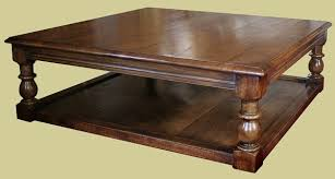 large oak square coffee table in