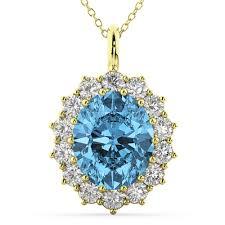 oval blue topaz diamond halo pendant necklace 14k yellow gold