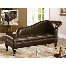 mnl 75005 classico espresso chaise lounge leather chair with nailed trim decor including storage