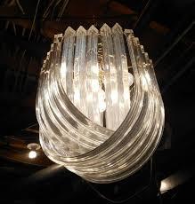 vintage lucite acrylic ribbon chandelier mid century modern ribbon chandelier