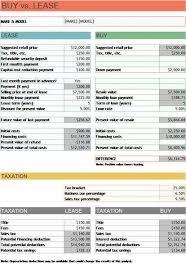 Car Lease Calculator Spreadsheet Elegant Vs Buy Analysis Excel