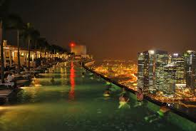 infinity pool night. Infinity Pool In Marina Bay Sands Skypark, Singapore Night