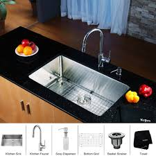 stainless steel kitchen sink combination kraususa kraus undermount inch single bowl gauge with faucet and under