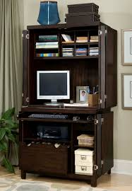 amazing computer armoire for neat home office design cool wooden computer armoire with shelves and