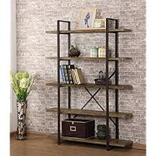 O&K Furniture 5-Shelf Industrial Style Bookcase and Book Shelves, Vintage  Wood and Metal