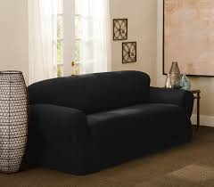 black couch slipcovers. Beautiful Black Black OnePiece Intended Couch Slipcovers C