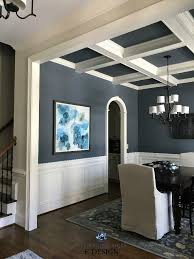 Wainscoting dining room Navy Dining Room Wainscoting Sherwin Williams Wall Street Coffered Ceilings Kylie Interiors Edesign Online Paint Consulting Client Photo Thesynergistsorg Dining Room Wainscoting Sherwin Williams Wall Street Coffered