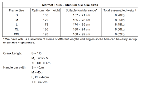 Size Chart For Marmot Cycling Holidays Titanium Hire Bikes