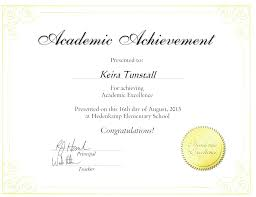 Achievement Awards For Elementary Students Academic Achievement Award For Keira Tunstall