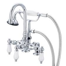 clawfoot tub faucet with shower riser. 3-handle vintage claw foot tub faucet with hand shower and porcelain clawfoot riser