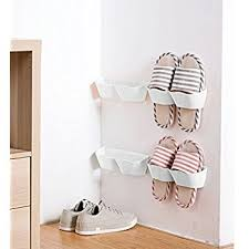 MEOLY 4pcs Home Shoes Shelf Plastic Wall Mounted Shoes Rack for Entryway  Door Hanging Shoes Organizer