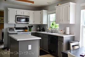 kitchen after painted cabinets grey and white diy