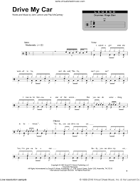 drums sheet music beatles drive my car sheet music for drums
