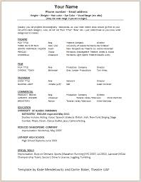Acting Resume Outline Acting Resume Template Build Your Own Resume Now