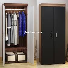 modern 170cm 2 door wooden wardrobe storage cabinet bedroom furniture organiser